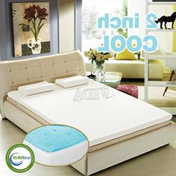 "2"" Gel Infused Memory Foam Mattress Topper Pad Certipur-US C"