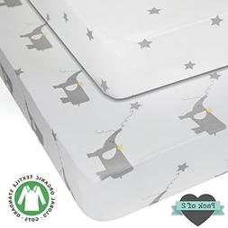 Crib sheets - 100% ORGANIC JERSEY COTTON - 2pk Unisex Grey -