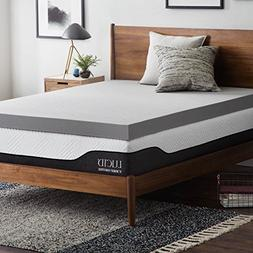 Lucid 4 Inch Bamboo Charcoal Memory Foam Mattress Topper - K