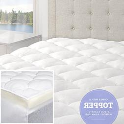 eLuxurySupply Bamboo Mattress Pad with Fitted Skirt - Double
