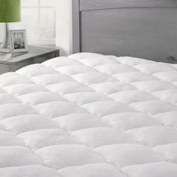 Luxury Bamboo Mattress Pad Cooling Fitted 16'' Deep Extra Pl