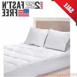 Bed Mattress Pad Cover King Size White Protector Pillow Top