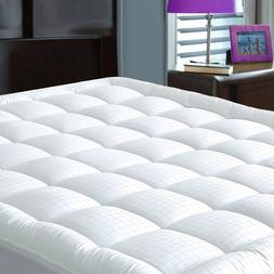 Cooling Pillowtop Mattress Pad Fitted Quilted Topper Luxury