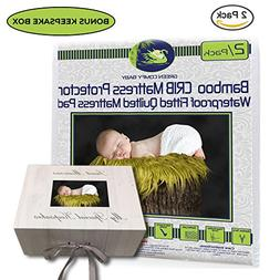 Crib Mattress Protector Pad 2/pack ORGANIC BAMBOO All-IN-ONE