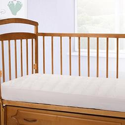 Crib-Size Overfilled Pillow Top Crib Mattress Pad, Made in T