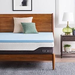 LUCID 2 Inch Gel Infused Memory Foam Mattress Topper Twin