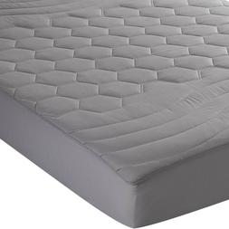 Gray Mattress Pad Fitted Sheet Quilted Matress Cover Deep Po