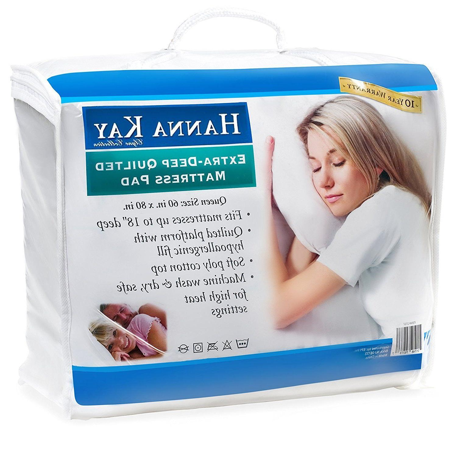 Hypoallergenic Quilted Stretch-to-Fit Mattress Pad Hanna Kay