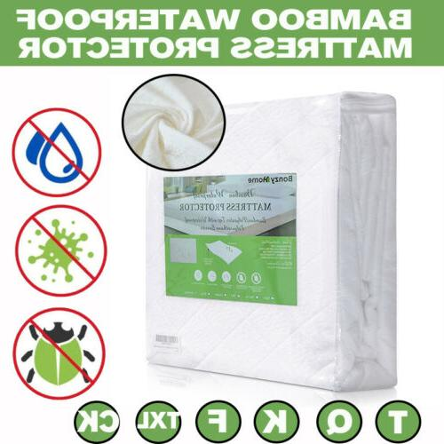 bamboo mattress cover fitted bed protector pad