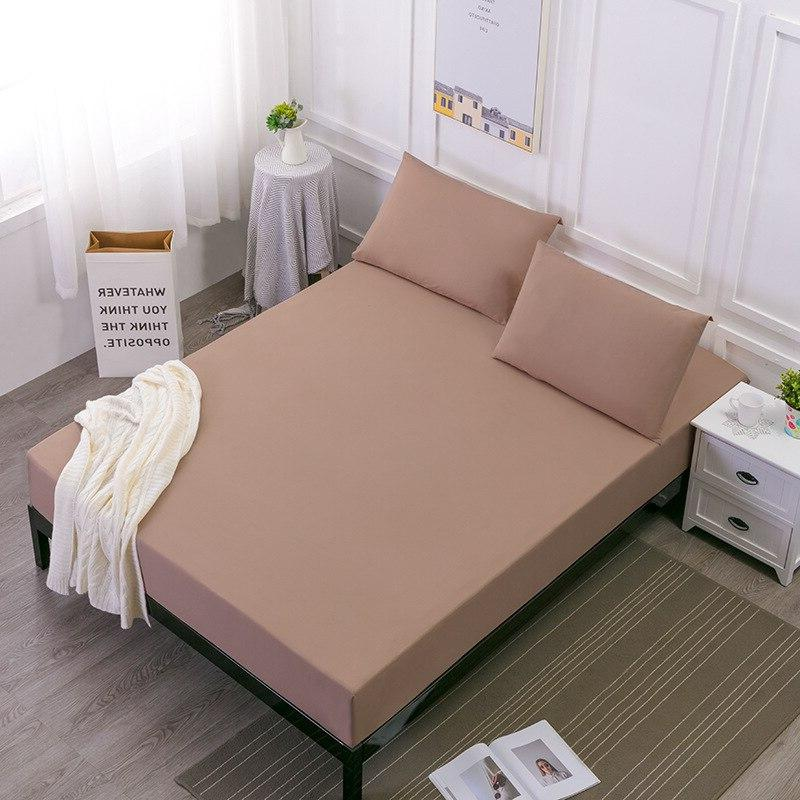 <font><b>Solid</b></font> color Fitted Mattress Cover Bed Linen With Band Size Bedding Set