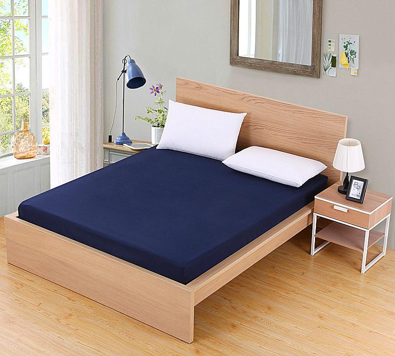 <font><b>Solid</b></font> Mattress Cover Bed Linen With Elastic Protector Pad Size Set