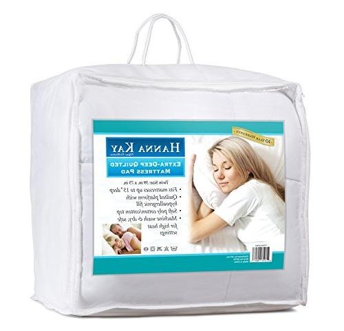 Hanna Kay Hypoallergenic Quilted Stretch-to-Fit Mattress Pad, Year Warranty-Clyne