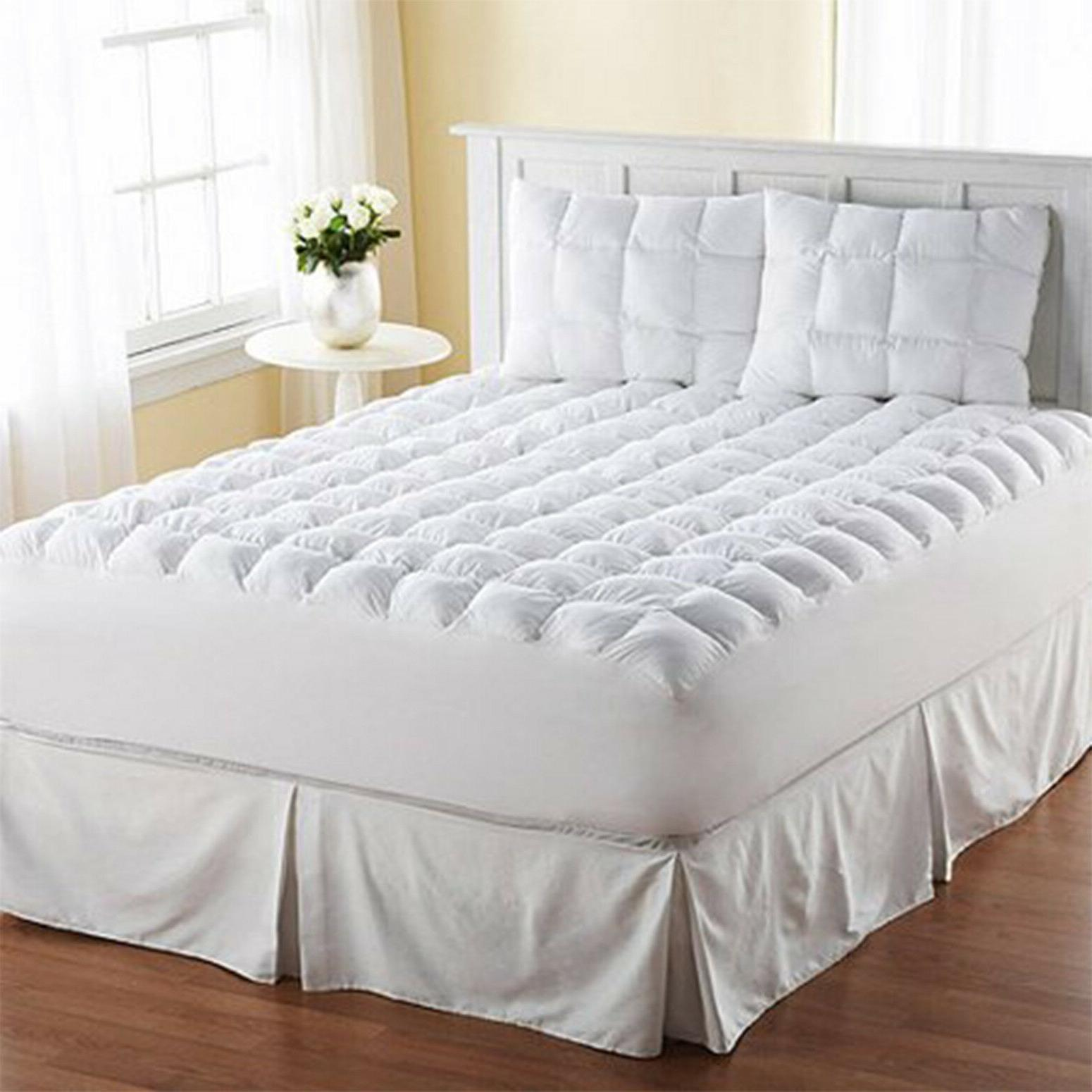 King Size Mattress Pad Cover Pillow Top Topper Thick Cotton