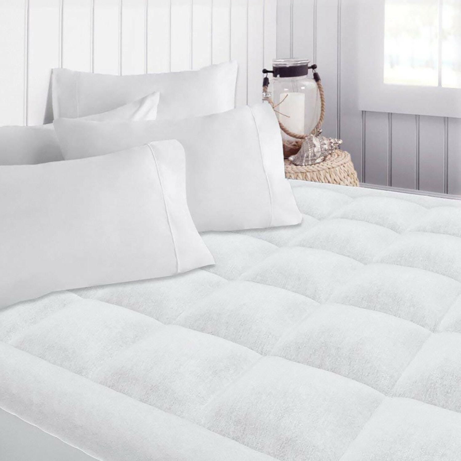 Luxury Mattress Pad Overfilled Topper Polyester Microplush C