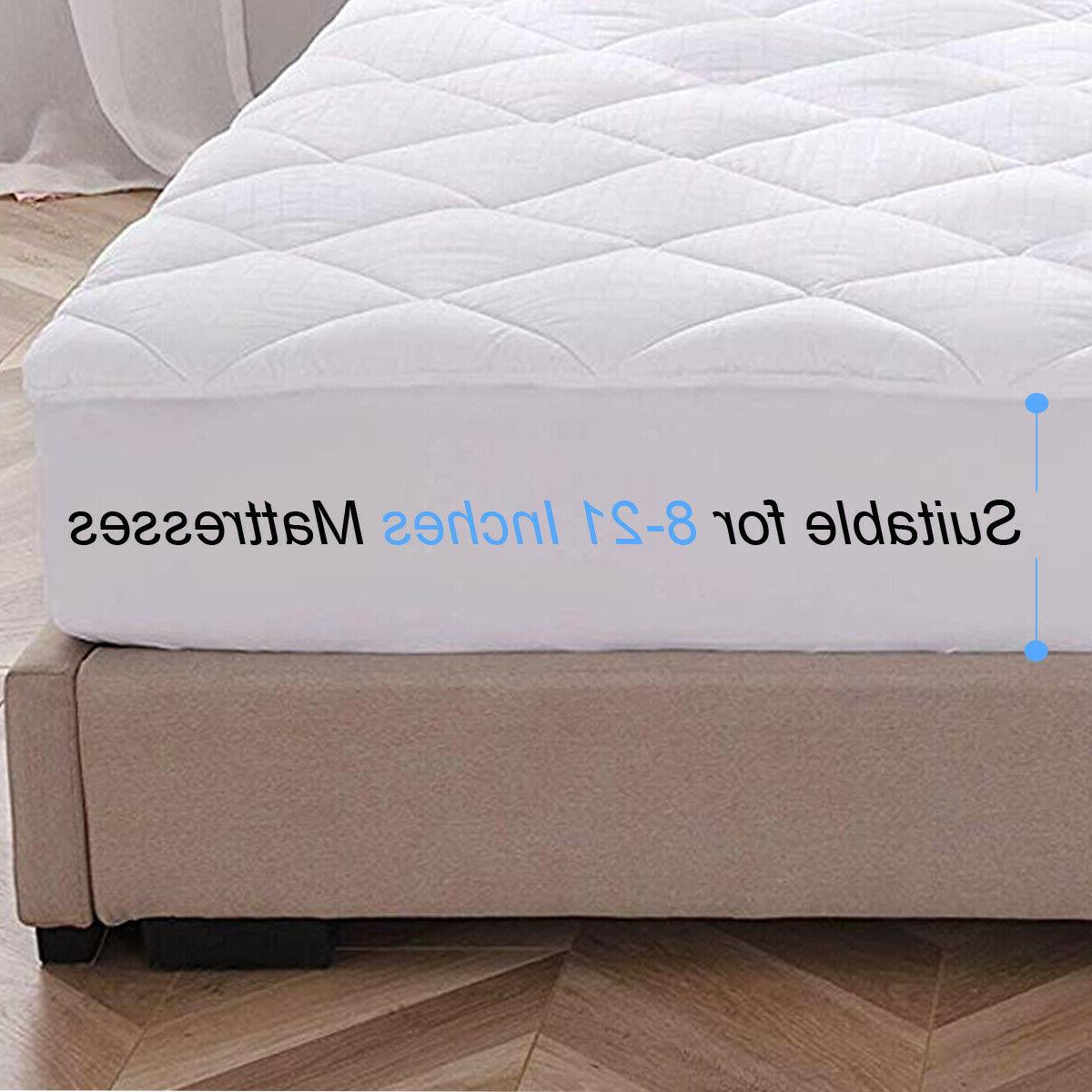 Mattress Pad Cooling Hypoallergenic Fitted Quilted Topper Cover