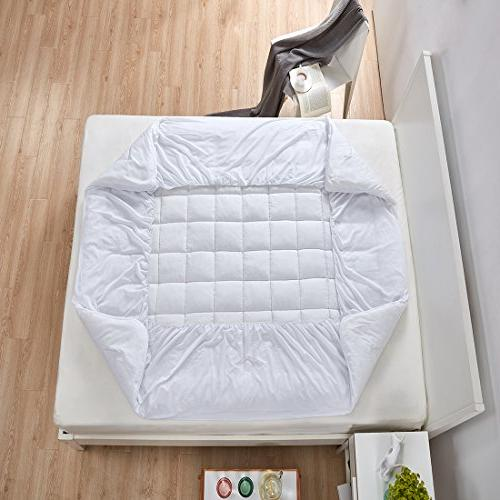 """Mattress Cover-Cotton with Stretches Deep Pocket Fits to 8""""-21"""" Cooling White Bed Topper"""