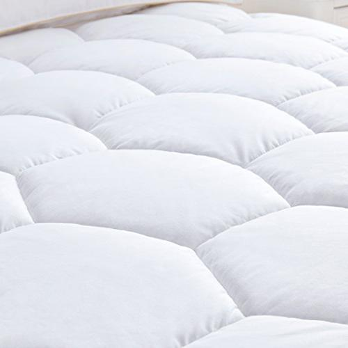 Mattress Pad Size- Quilted Fitted Down Luxury Topper,Cooling,Breathable Soft with Deep for Hotel and Home