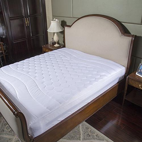 mattress pad king hypoallergenic overfilled quilted breathab