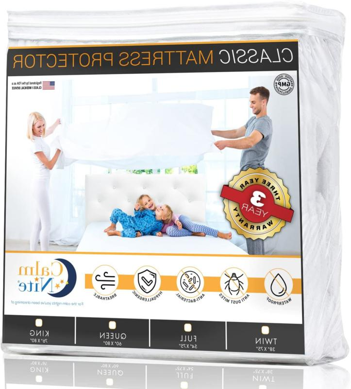 CALM NITE Mattress Pad Protector - Waterproof  Hypoallergeni