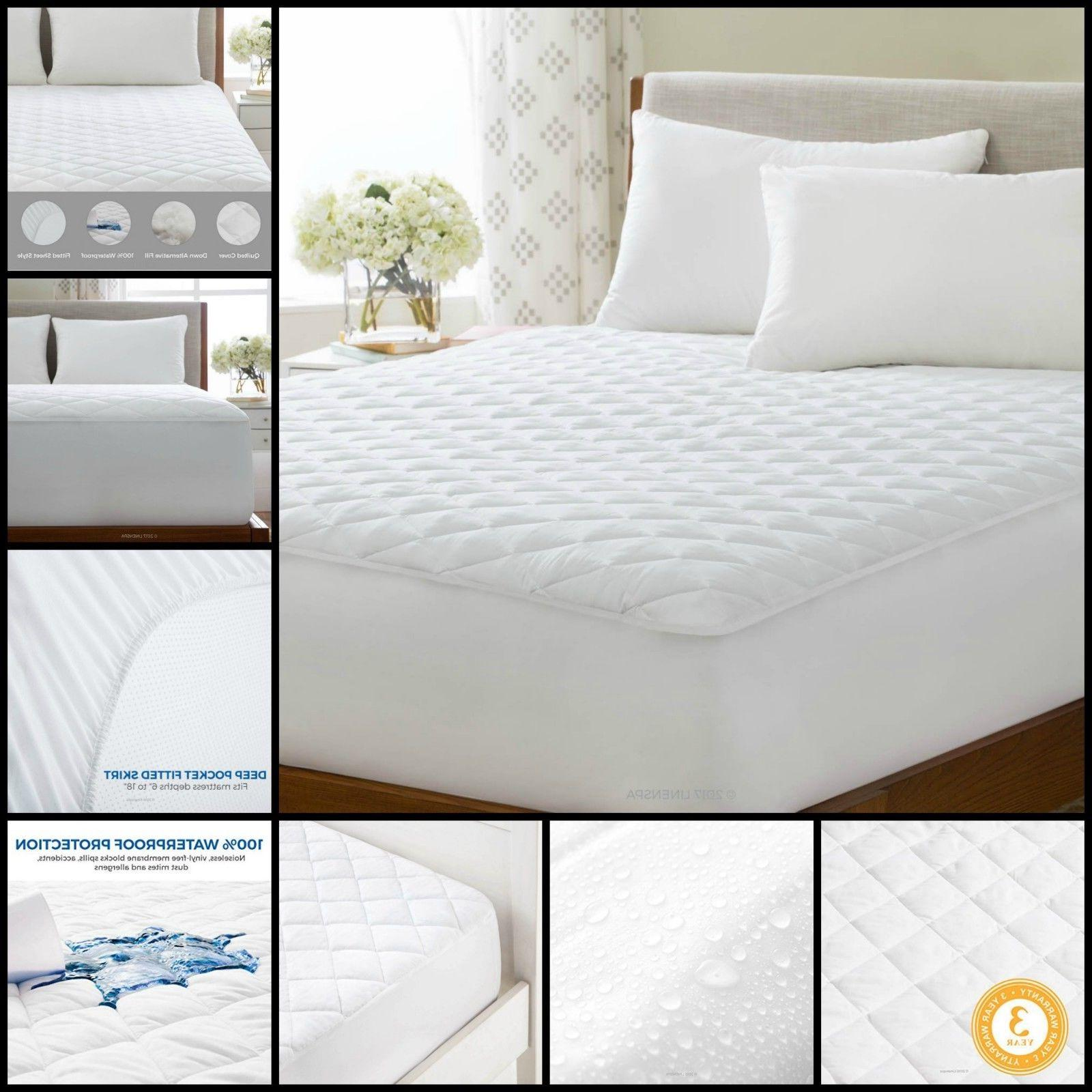 mattress pad waterproof quilted hypoallergenic fill deep