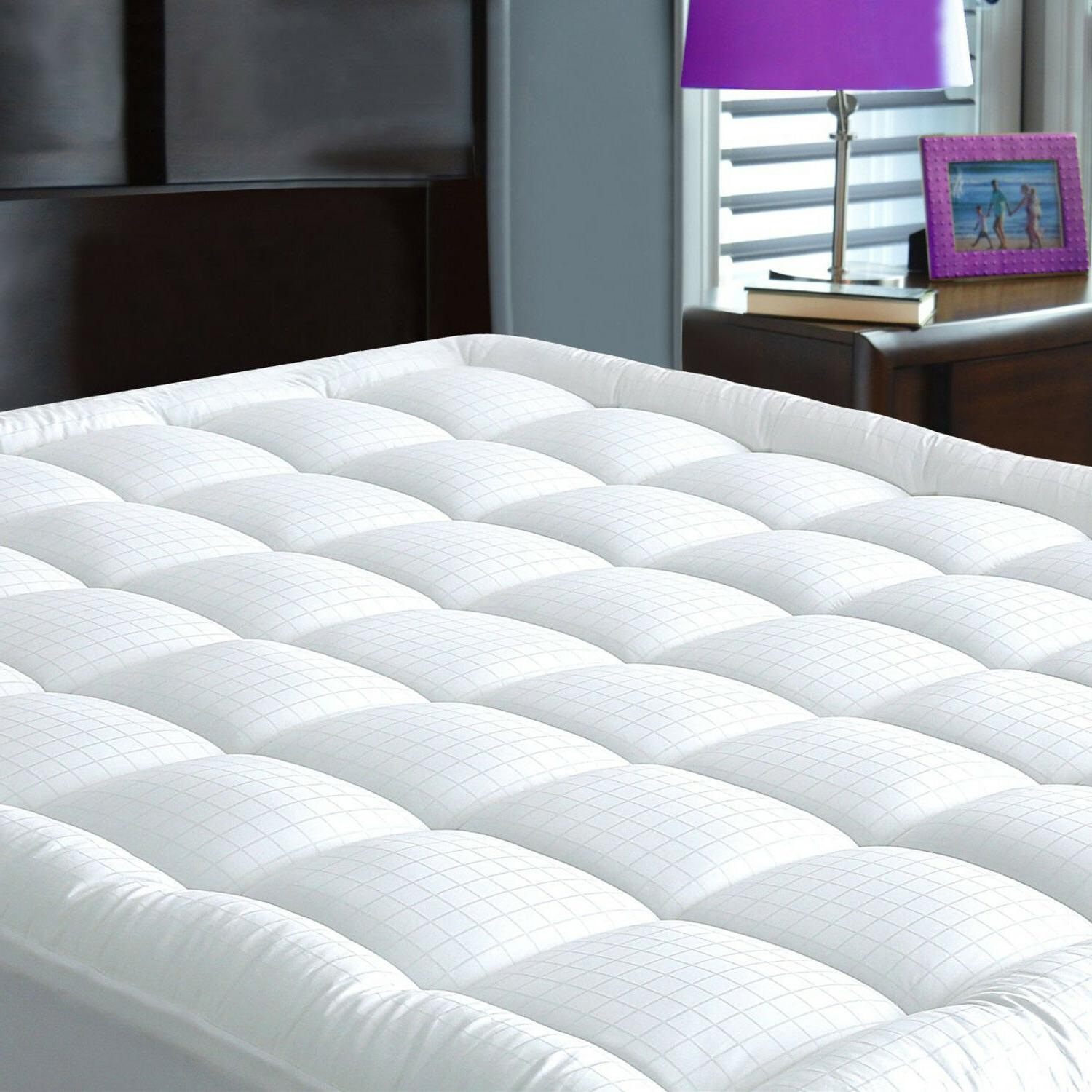 Mattress Topper Bed Pad Case Cover Pillow Top Soft Breathabl