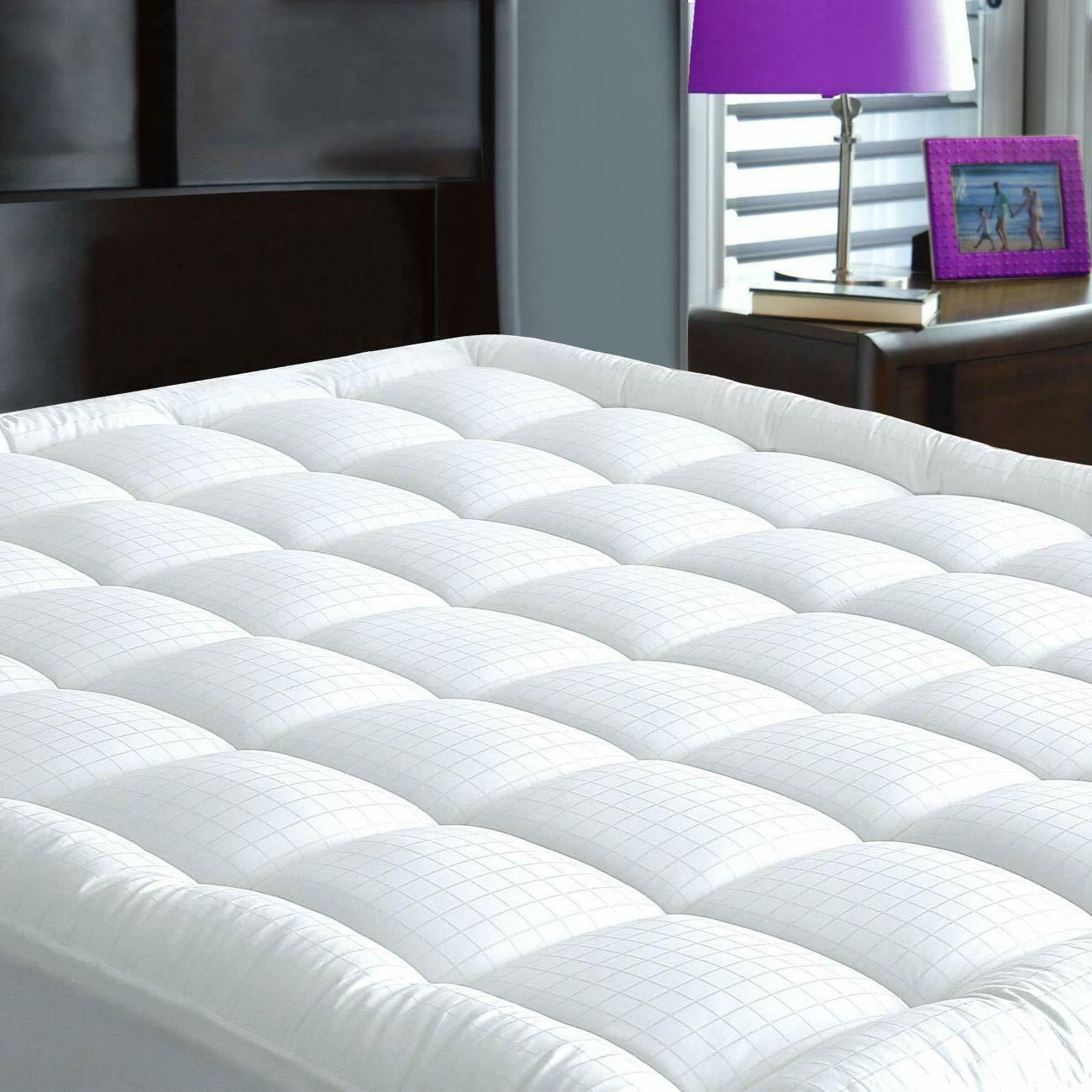 Mattress Topper Soft Bed Pad Case Cover Pillow Top Breathabl