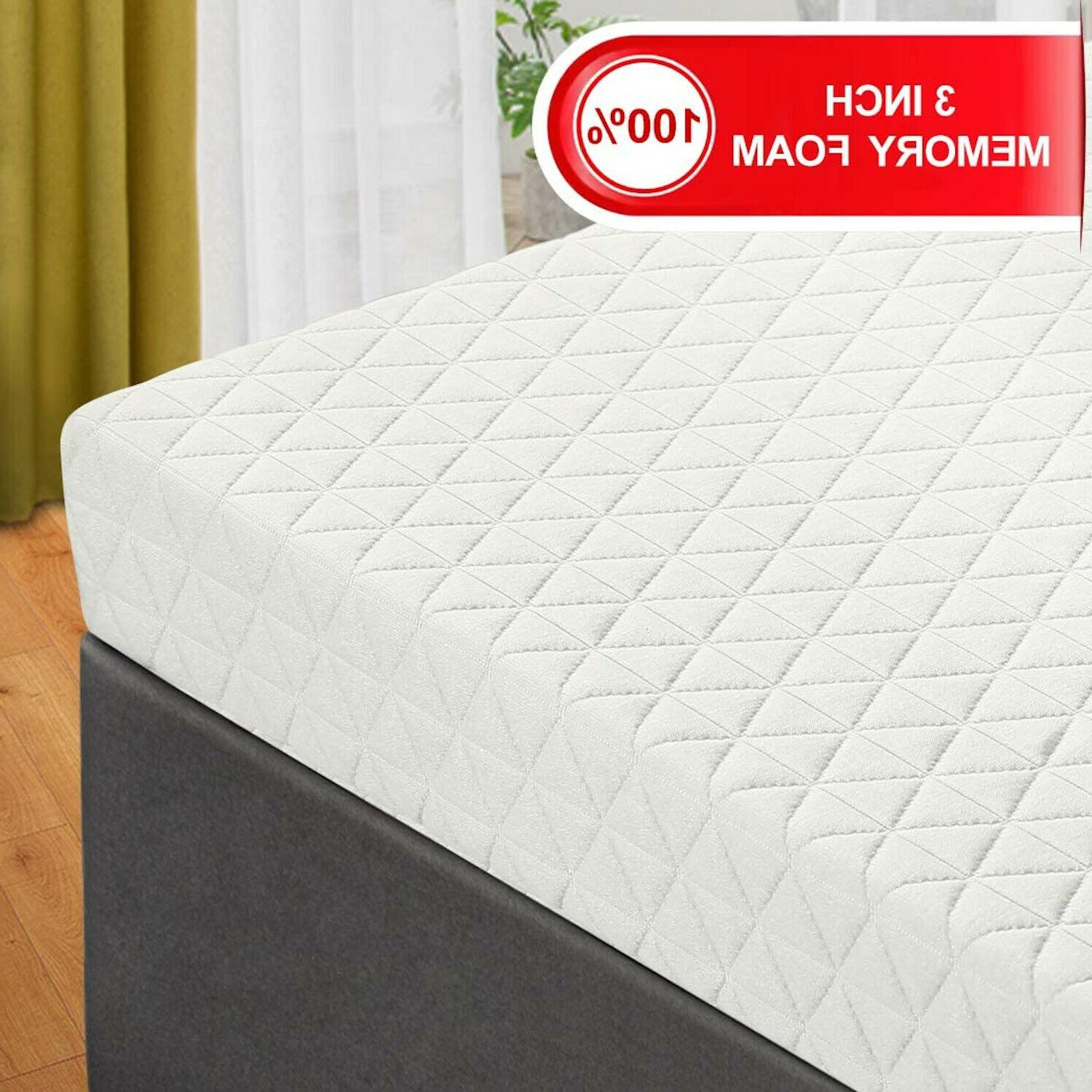 Memory Foam Mattress Topper Gel Bed Pad Washable Cover Pillo