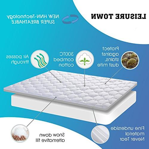 LEISURE TOWN Overfilled Mattress Cooling Topper Top Snow Down Alternative ,White