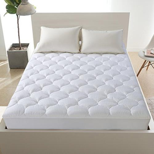 LEISURE Queen Overfilled Mattress Pad Cover Cooling Mattress Topper Pillow Top Pocket Snow Down ,White
