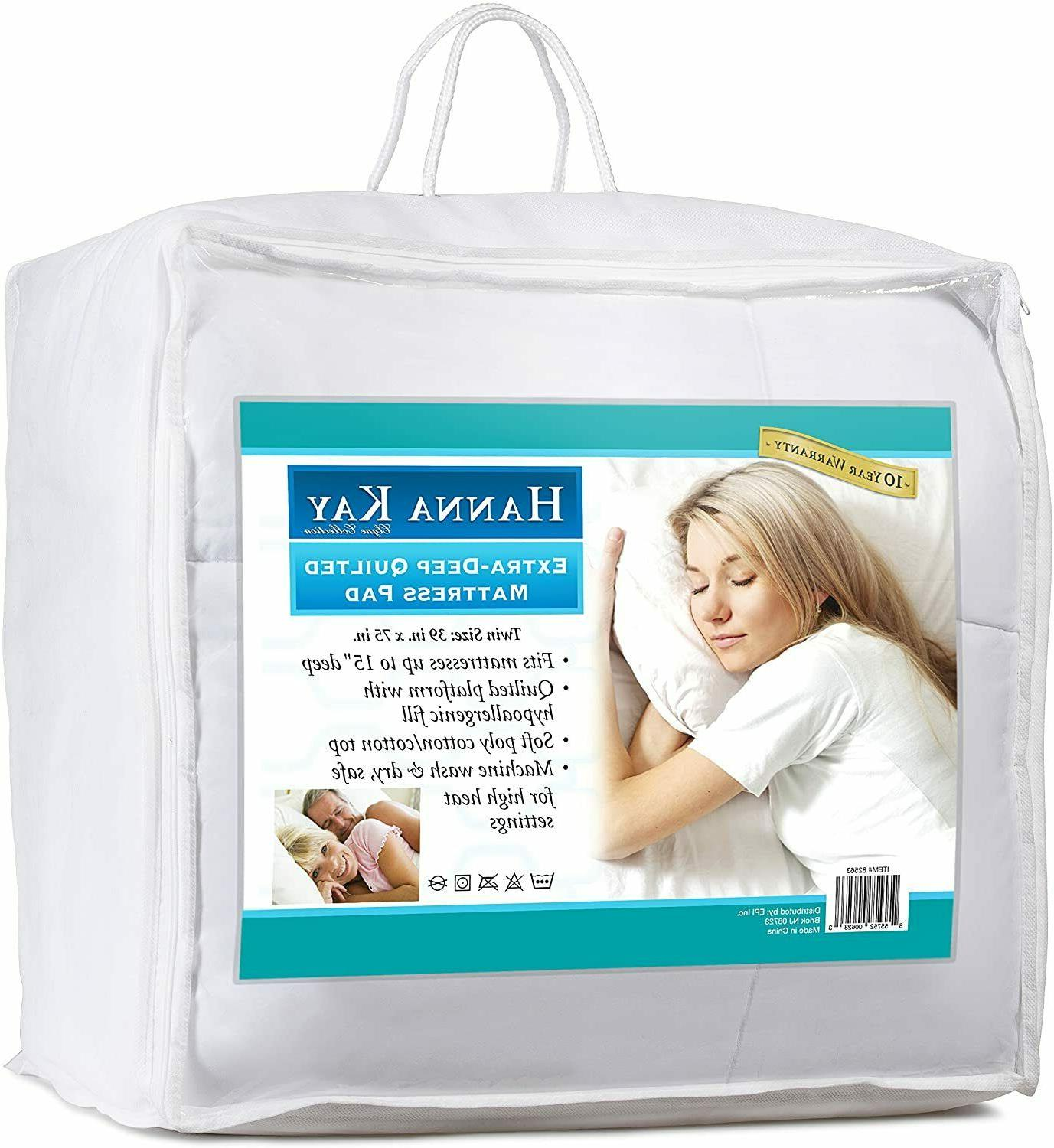 Poly-Cotton Quilted Mattress Pad Hypoallergenic Fitted Deep