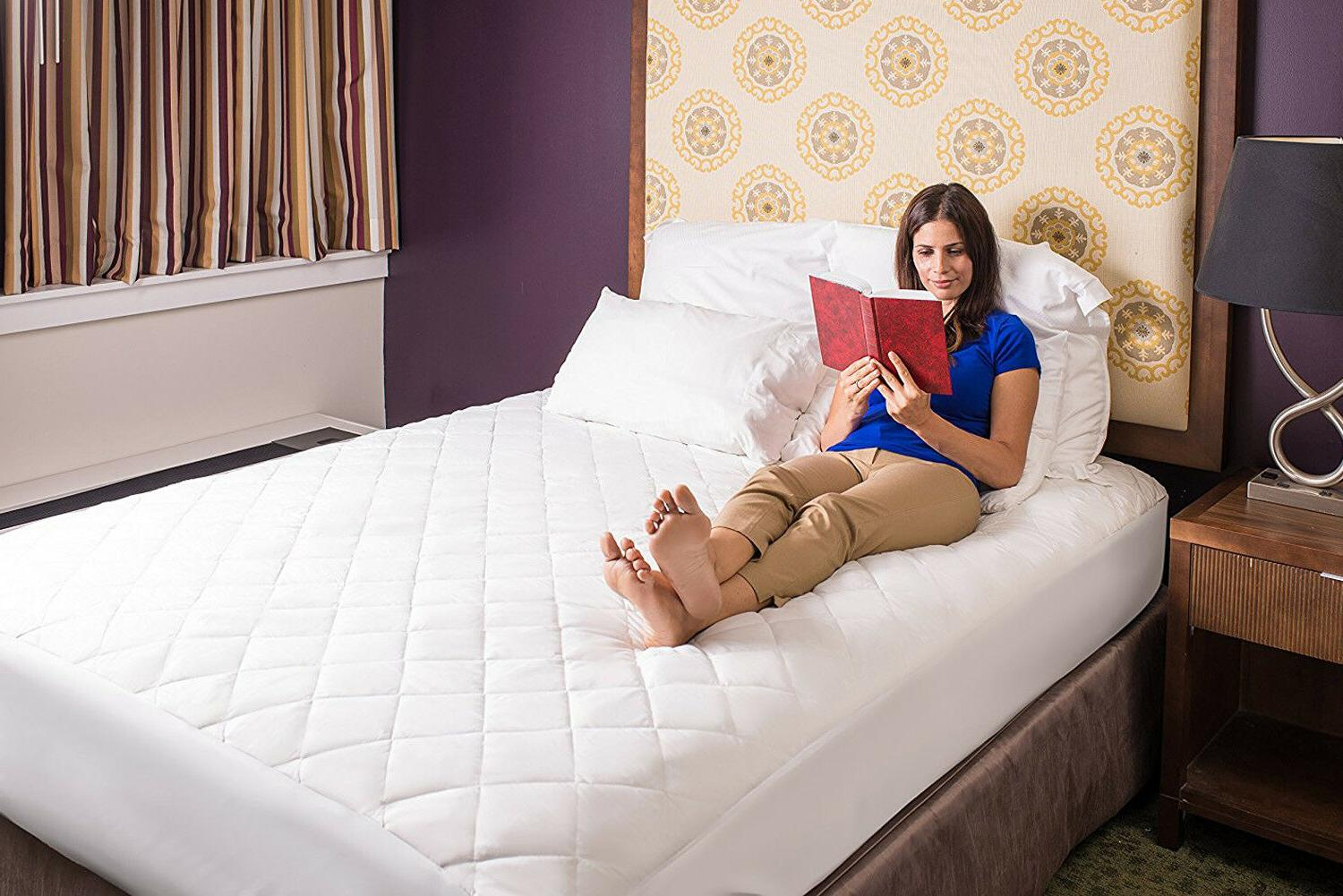 Poly-Cotton Quilted Mattress Pad Hypoallergenic Fitted Breathable