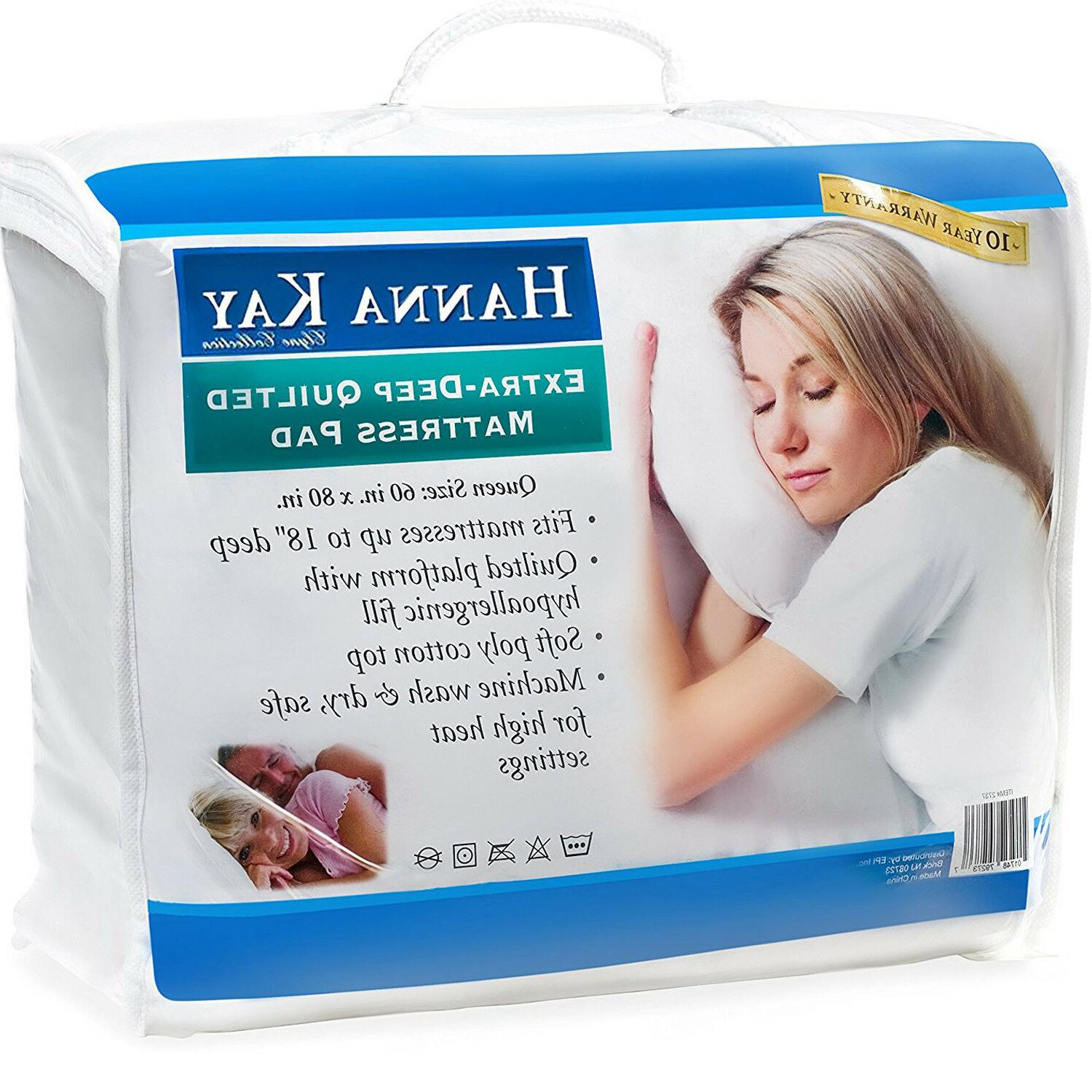 poly cotton quilted mattress pad hypoallergenic fitted