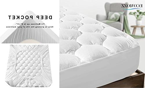 Ecomozz Queen Cover Deep Pocket - Alternative Fitted Mattress - Overfilled Quilted Mattress Topper