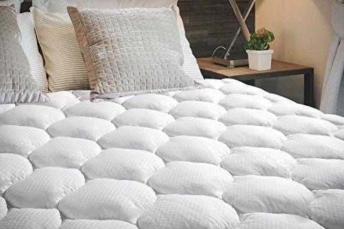 Ecomozz Queen Mattress Cover Deep Pocket - Hypoallergenic Alternative Fitted - Quilted Pillowtop Mattress Topper