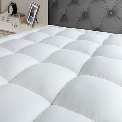 "Queen Mattress Pad Cover Stretches up 8-21"" Deep Pocket Cool"