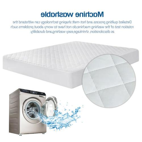 Quilted Mattress Pad Cover Fitted Cooling Bed Sheet Topper Bug