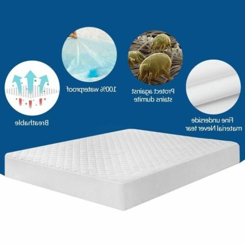 Quilted Mattress Pad Fitted Cooling Bed Topper Bug Dust