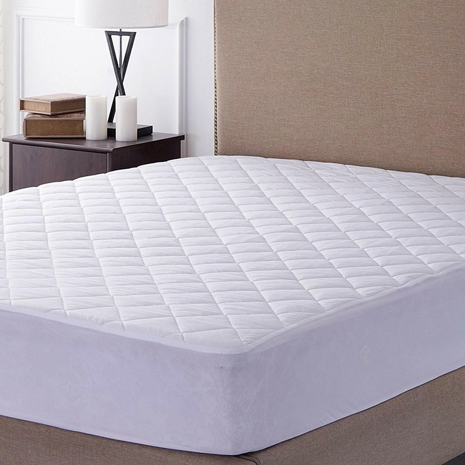 Quilted Mattress Pad Deep Pocket Protector 100% Cotton High