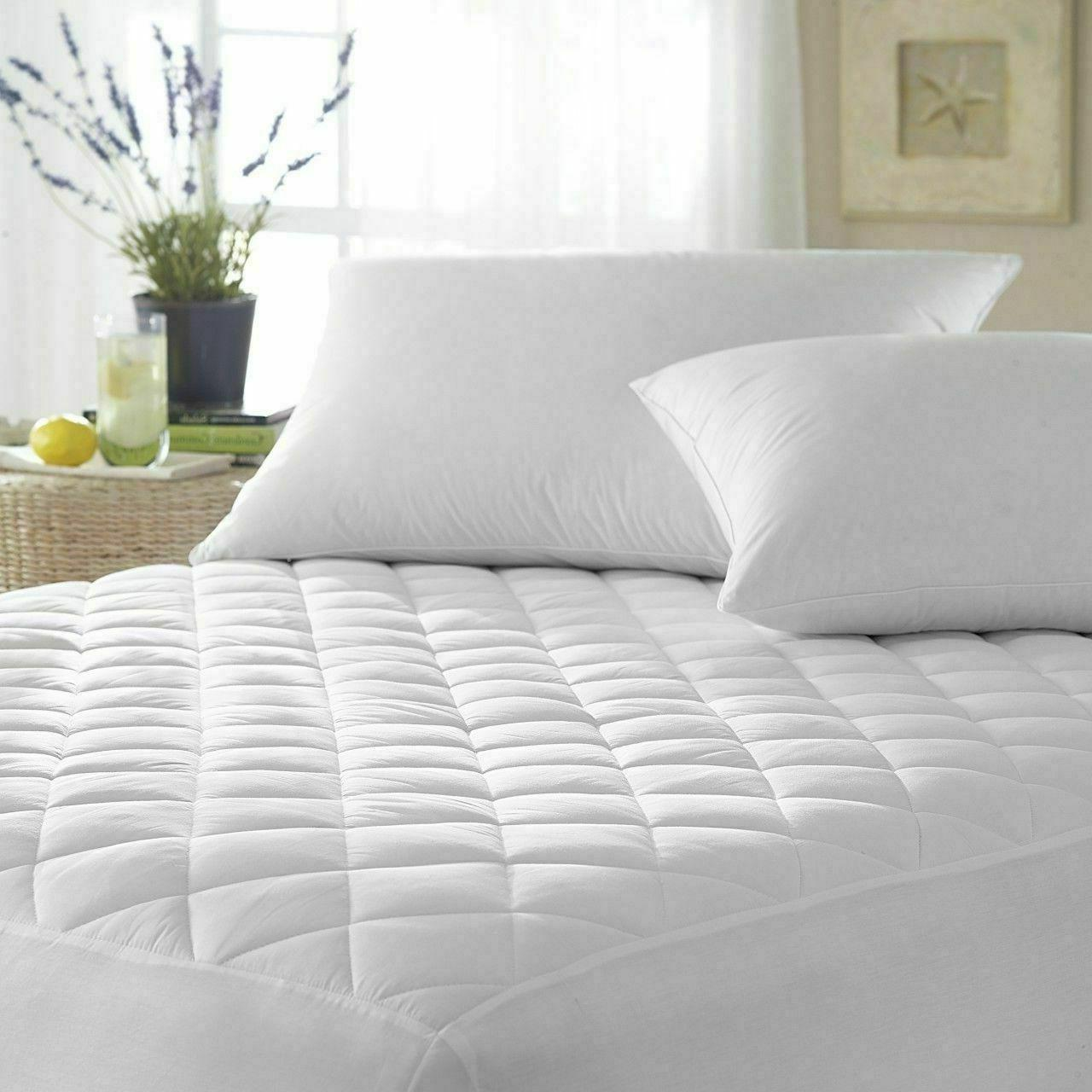 """Quilted Cover Protector 16"""" Fitted Queen King"""