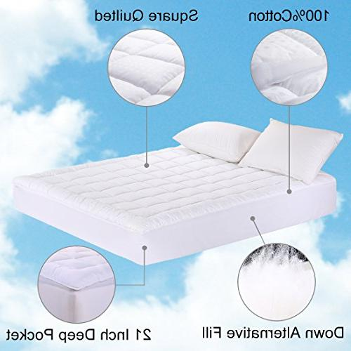MEROUS Queen Size Cotton Mattress Pad - Top Hypoallergenic Quilted Topper,Fitted Pocket Cover