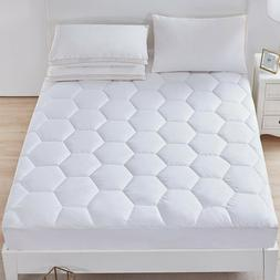 Luxury Mattress Pad Deep Pocket Cover Quilted Fitted Down Al