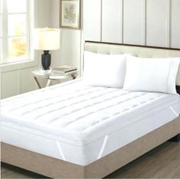 Olympic Queen Size White Solid Mattress Pad Egyptian Cotton