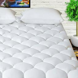Mattress Pad 400TC Cotton Cooling Cover Pillowtop Quilted To
