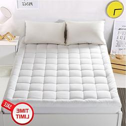 WARM HARBOR Mattress Pad Cover Twin Size Mattress Topper wit