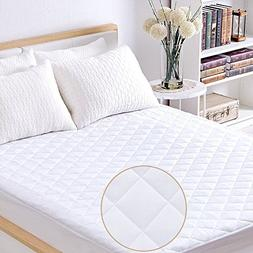 Twin Quilted Fitted Mattress Pad, 100% Waterproof Hypoallerg