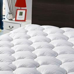 Fitted Mattress Pad Cooling Cotton Cover Soft Pillowtop Bed