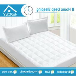 ANMINY Pillow Top Mattress Pad Cover Protector Topper Quilte