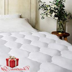 BEL TESORO Quilted Extra Plush Mattress Pad  Combed Cotton F