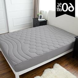 Quilted Mattress Pad Twin Grey Fitted sheet Mattress Cover,