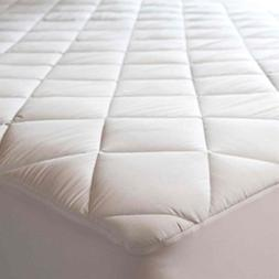 Abstract Quilted Mattress Pad White Fitted Waterproof Cotton